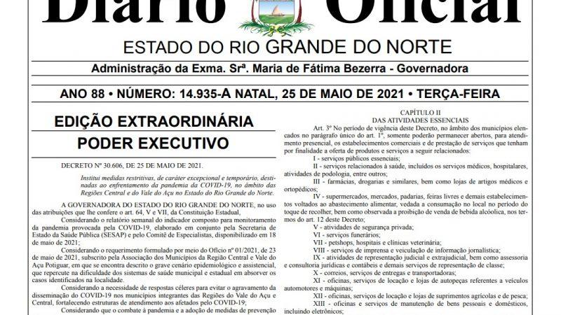 Governo do RN publica decreto com medidas restritivas para São Rafael e demais cidades das regiões Central e do Vale do Açu